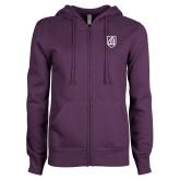 ENZA Ladies Purple Fleece Full Zip Hoodie-Shield