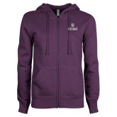ENZA Ladies Purple Fleece Full Zip Hoodie-Institutional Mark Stacked
