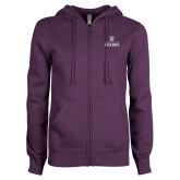 ENZA Ladies Purple Fleece Full Zip Hoodie-Institutional Mark Stacked