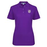 Ladies Easycare Purple Pique Polo-Shield
