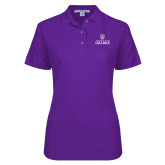 Ladies Easycare Purple Pique Polo-Institutional Mark Stacked
