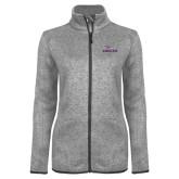 Grey Heather Ladies Fleece Jacket-Eagles with Head