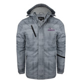 Grey Brushstroke Print Insulated Jacket-Eagles with Head