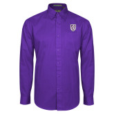 Purple Twill Button Down Long Sleeve-Shield