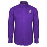 Purple Twill Button Down Long Sleeve-Shield