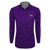 Ladies Purple Twill Button Down Long Sleeve-Eagles with Head
