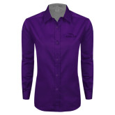 Ladies Purple Twill Button Down Long Sleeve-Eagles with Head Tone