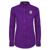 Ladies Purple Twill Button Down Long Sleeve-Shield