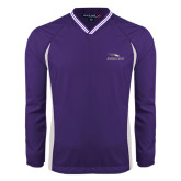 Colorblock V Neck Purple/White Raglan Windshirt-Eagles with Head