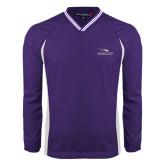 Colorblock V Neck Purple/White Raglan Windshirt-Eagles with Head