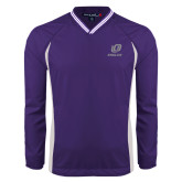 Colorblock V Neck Purple/White Raglan Windshirt-UO