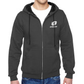 Charcoal Fleece Full Zip Hoodie-UO