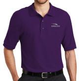 Purple Easycare Pique Polo-Eagles with Head