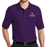 Purple Easycare Pique Polo-Institutional Mark Stacked