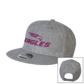 Heather Grey Wool Blend Flat Bill Snapback Hat-Eagles with Head
