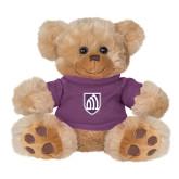 Plush Big Paw 8 1/2 inch Brown Bear w/Purple Shirt-Shield