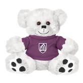 Plush Big Paw 8 1/2 inch White Bear w/Purple Shirt-Shield