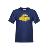 Youth Navy T Shirt-Soccer Circle Design