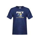Youth Navy T Shirt-Lacrosse Design