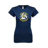 Next Level Ladies SoftStyle Junior Fitted Navy Tee-Volleyball Star Design