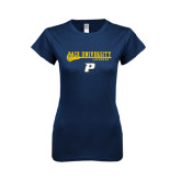 Next Level Ladies SoftStyle Junior Fitted Navy Tee-Stacked Lacrosse Design