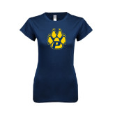 Next Level Ladies SoftStyle Junior Fitted Navy Tee-Paw