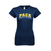 Next Level Ladies SoftStyle Junior Fitted Navy Tee-Arched Pace Setters
