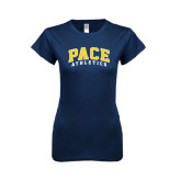 Next Level Ladies SoftStyle Junior Fitted Navy Tee-Arched Pace Athletics