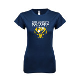 Next Level Ladies SoftStyle Junior Fitted Navy Tee-Graphics on Basketball