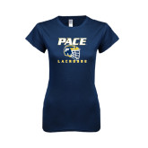Next Level Ladies SoftStyle Junior Fitted Navy Tee-Lacrosse Design