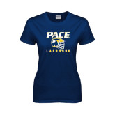 Ladies Navy T Shirt-Lacrosse Design