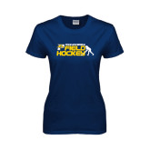 Ladies Navy T Shirt-Field Hockey Design