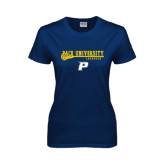 Ladies Navy T Shirt-Stacked Lacrosse Design