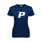 Ladies Navy T Shirt-P Distressed
