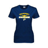 Ladies Navy T Shirt-Swimming
