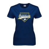 Ladies Navy T Shirt-2016 Northeast 10 Conference Champions Softball