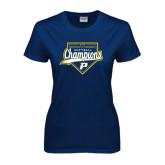Ladies Navy T Shirt-2016 Northeast 10 Conference Champions Softball
