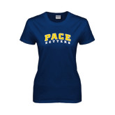 Ladies Navy T Shirt-Arched Pace Setters