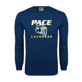 Navy Long Sleeve T Shirt-Lacrosse Design