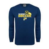 Navy Long Sleeve T Shirt-Soccer Swoosh