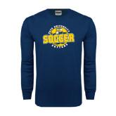 Navy Long Sleeve T Shirt-Soccer Circle Design