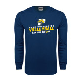 Navy Long Sleeve T Shirt-Can You Dig It Volleyball