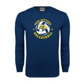 Navy Long Sleeve T Shirt-Volleyball Star Design
