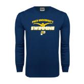 Navy Long Sleeve T Shirt-Swimming