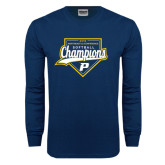 Navy Long Sleeve T Shirt-2016 Northeast 10 Conference Champions Softball