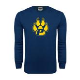 Navy Long Sleeve T Shirt-Paw