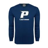 Navy Long Sleeve T Shirt-Lacrosse