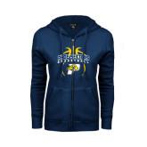 ENZA Ladies Navy Fleece Full Zip Hoodie-Graphics in Basketball