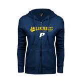 ENZA Ladies Navy Fleece Full Zip Hoodie-Stacked Lacrosse Design