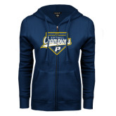 ENZA Ladies Navy Fleece Full Zip Hoodie-2016 Northeast 10 Conference Champions Softball